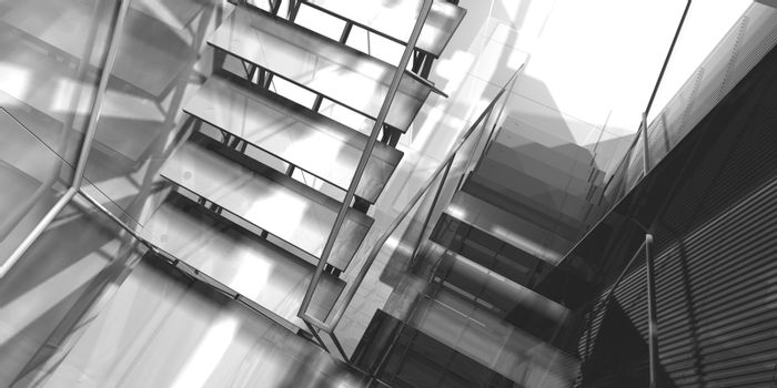 Stairs. Modern office interior, stairs, clean space in business building