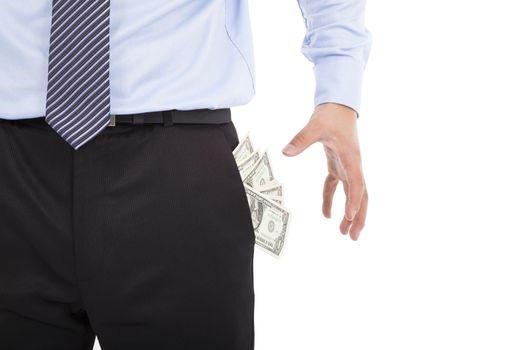 Business man grabbing  pocket money over white