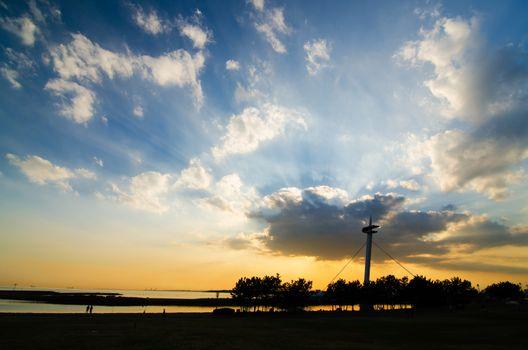 Power of Sunset at Suspension bridges of Kasairinkai park