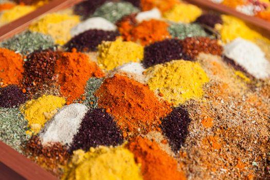 Pepper powder herbal spice condiment ingredients at food market