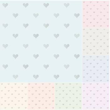 seamless heart pattern with silvery gradient