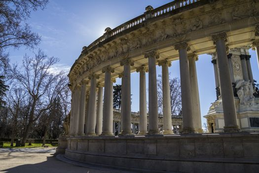 Madrid famous Retiro Park in the early morning.Monument to Alons