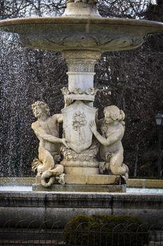 Water fountain in Retiro Park (Parque del Retiro) in Madrid