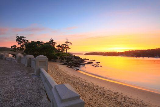Sunrise Balmoral Beach seaside suburb Sydney Australia