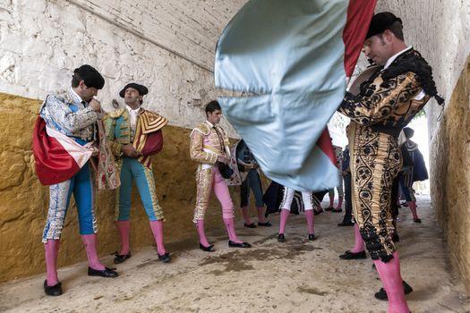 Bullfighters at the paseillo or initial parade Bullfight at Andu