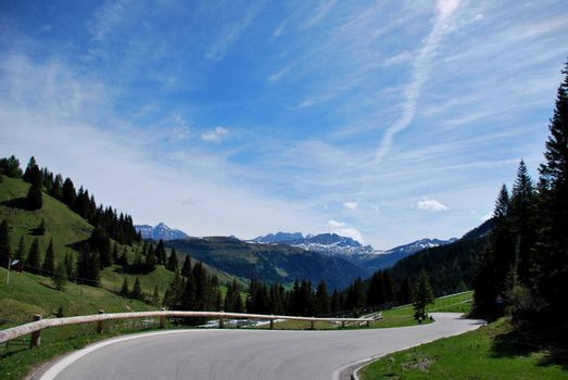 road with many curves in the mountains