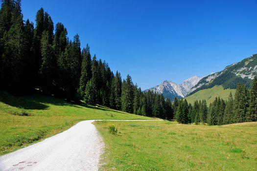 beautiful way while mountain biking and hiking in the mountain landscape