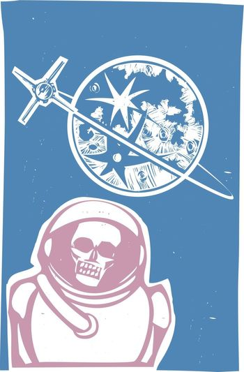 Soviet Poster style image of a Russian Zombie cosmonaut with satellite orbiting the moon.