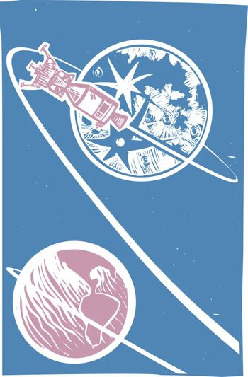 Woodcut style image of the NASA moon lander and the Apollo capsule orbiting the moon.