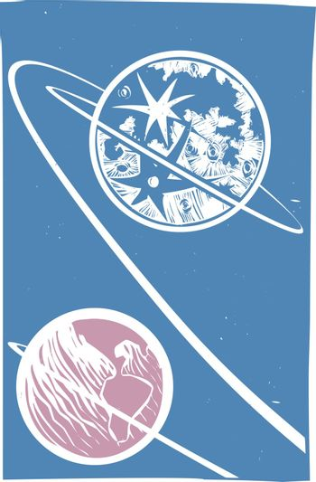 Soviet Poster style image of the of a Lunar orbit from the Earth to the Moon.