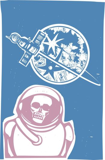 Soviet Poster style image of a Russian Zombie cosmonaut with Soyuz capsule orbiting the moon.