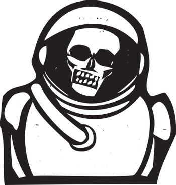 Woodcut style image of a skull inside a spacesuit helmet.
