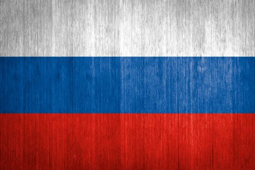 Russia Flag on wood background