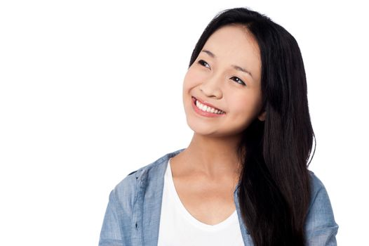 Charming chinese girl, casual pose