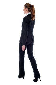 Woman in walking posture