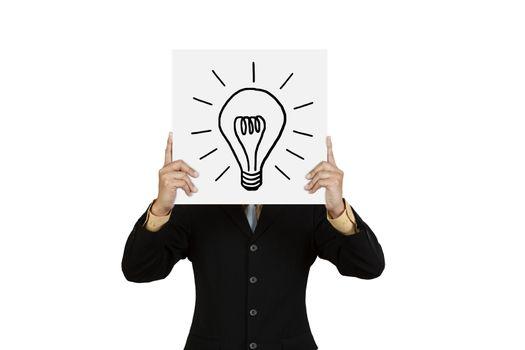 Businessman with lightbulb on board