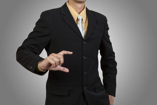 Businessman show his hand