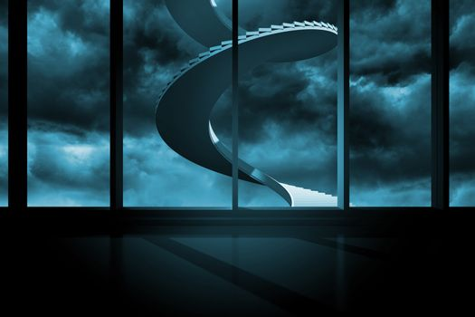 Winding staircase in blue sky