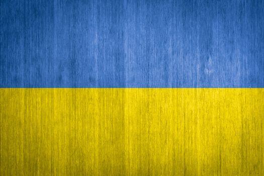 Ukraine Flag on wood background