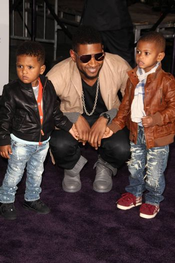 """Usher  at the """"Justin Bieber: Never Say Never"""" Los Angeles Premiere, Nokia Theater, Los Angeles, CA. 02-08-11"""
