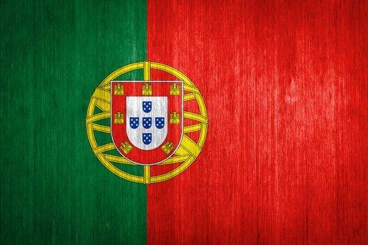 Portugal Flag on wood background