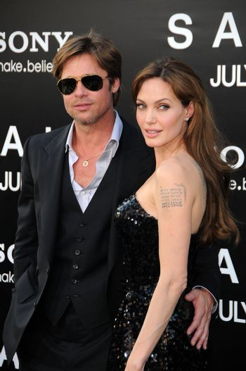 """Brad Pitt, Angelina Jolie at the """"Salt"""" Los Angeles Premiere, Chinese Theater, Hollywood, CA. 07-19-10"""