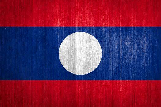 Laos Flag on wood background