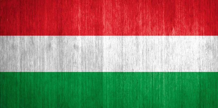 Hungary Flag on wood background