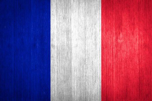 France Flag on wood background