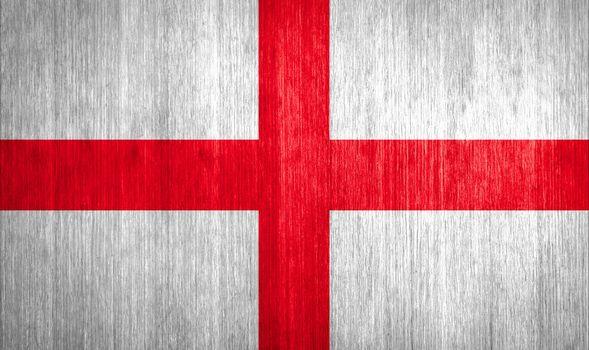 England Flag on wood background