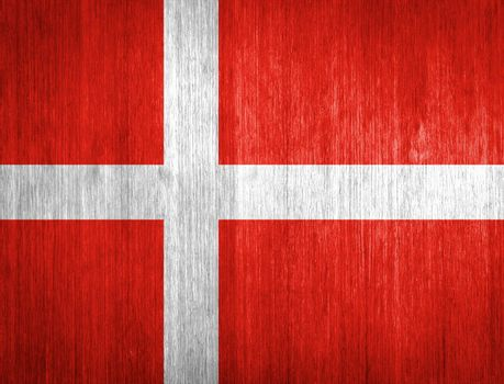 Denmark Flag on wood background