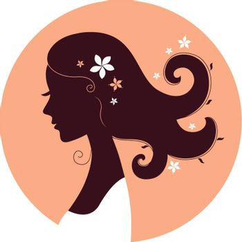 Floral woman head in circle ( brown and orange ). Vector