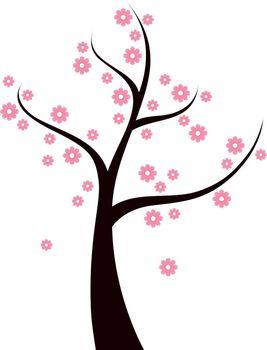 Beautiful Spring blossom Tree. Vector Illustration