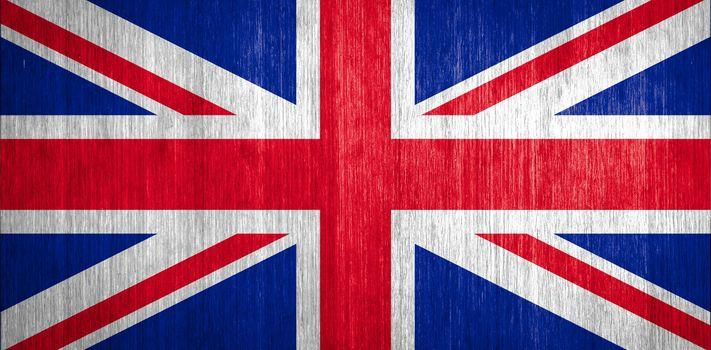 UK Flag on wood background