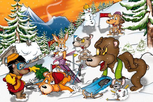 Animals In Winter - Cartoon Background Illustration, Bitmap