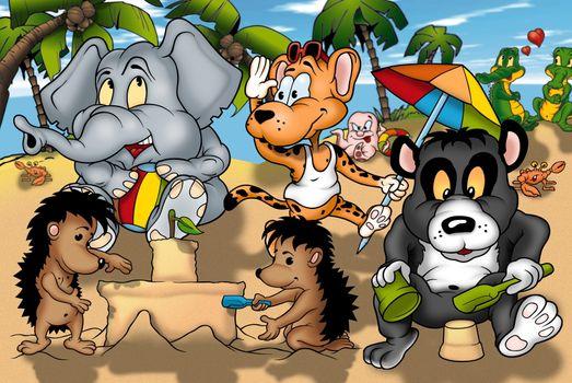 Animals On The Beach - Cartoon Background Illustration, Bitmap