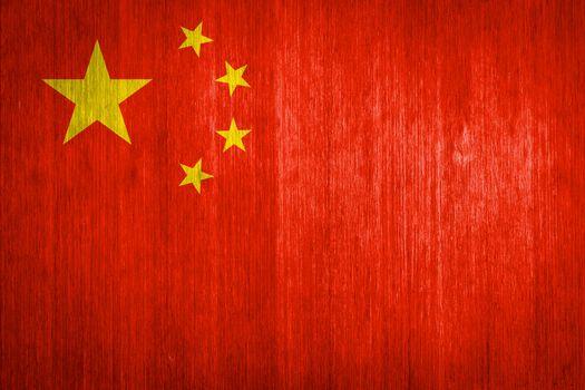 China Flag on wood background