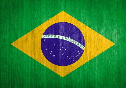 Brazil Flag on wood background