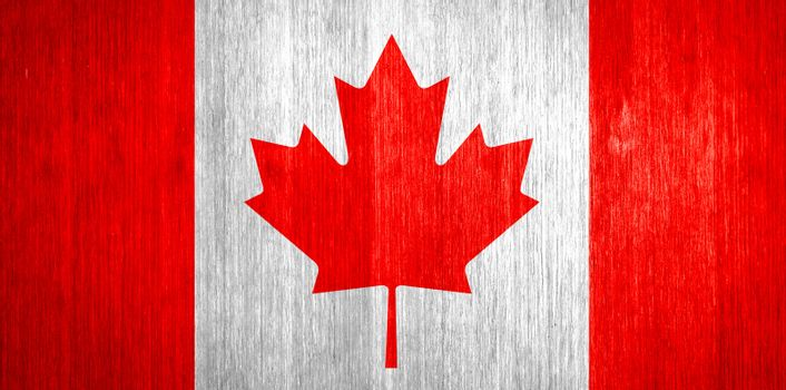 Canada Flag on wood background