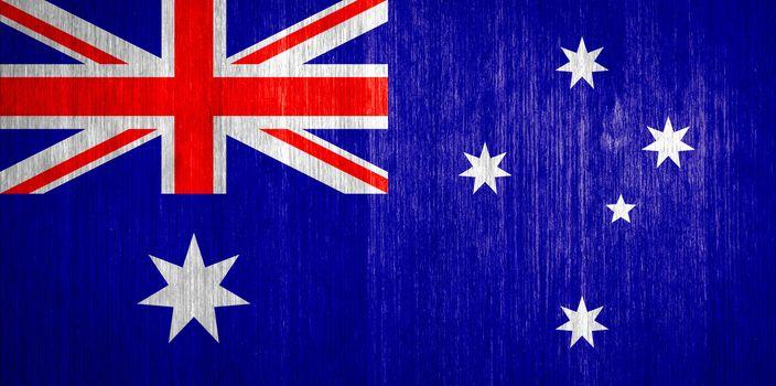 Australia Flag on wood background