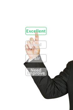 Businessman push excellent button