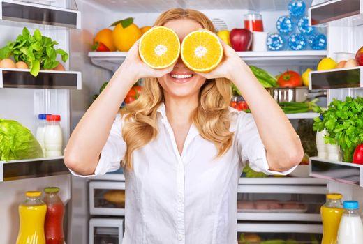 Joyful female on the kitchen