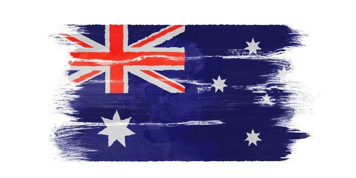 The Australian flag painted on white paper with watercolor