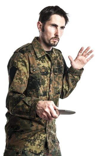 Self defense instructor with knife