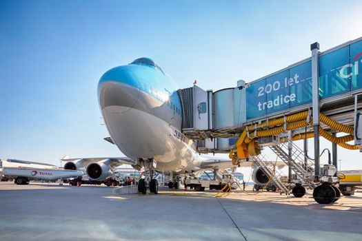 PRAGUE - SEPTEMBER 6: Korean Air Boeing 747 on the aircraft parking stand in Vaclav Havel Prague Airport on September 6, 2013. Korean Air is a private national airline, the largest in South Korea.