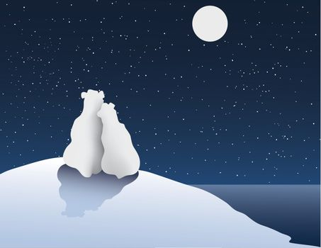Freehand Vector Illustration of Polar Bear Romance