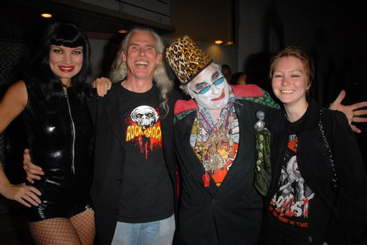 """Rena Riffel. Camden Toy, Count Smokula and guest at a midnight movie screening of Rena Riffel's """"Trasharella"""" as part of the  Vampire-Con Film Festival, New Beverly Cinema, Los Angeles, CA. 06-25-10/ImageCollect"""