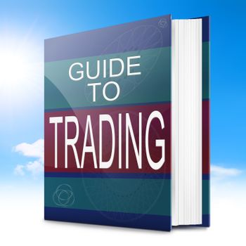 Illustration depicting a text book with a trading concept title. Sky background.