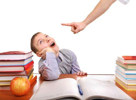 Schoolboy and strict parent