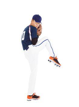 baseball player pitcher ready pose throwing ball